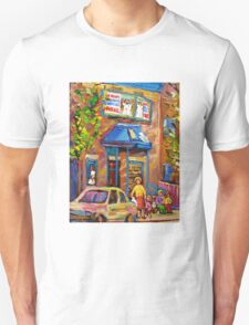 BEAUTIFUL SUMMER SCENE AT THE FAIRMOUNT BAGEL MONTREAL PAINTINGS AND PRINTS T-Shirt