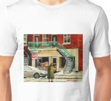 WALKING TO THE DEPANNEUR ON A SNOWY MORNING MONTREAL WINTER CITY PAINTINGS Unisex T-Shirt