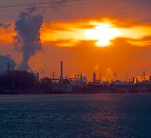 Sunrise over Phillips 66  Conoco refinery plant in Wood River  by WayneSheridan