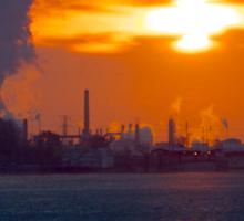 Sunrise over Phillips 66  Conoco refinery plant in Wood River  Sticker