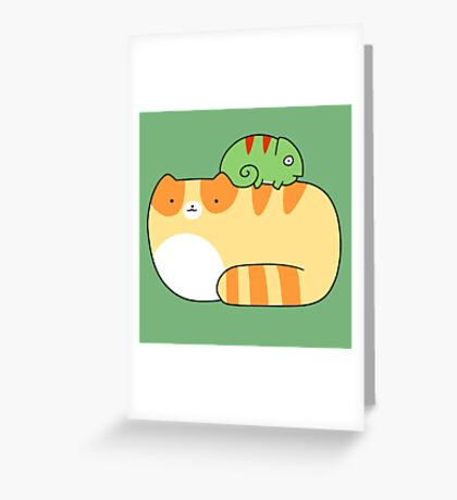Tabby Cat and Little Chameleon Greeting Card