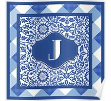 Letter J Monogram in Indigo Patterns Poster