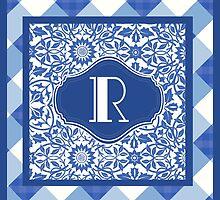 Letter R Monogram in Indigo Patterns by Greenbaby