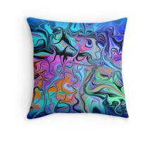 Fluid Blues Throw Pillow