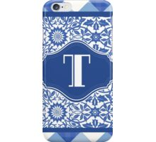 Letter T Monogram in Indigo Patterns iPhone Case/Skin