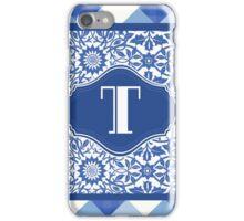Letter T Monogram in Indigo Patterns iPhone Case/Skin