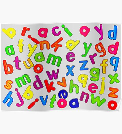 Jumbled Multi Coloured Letters Glow Poster