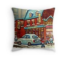 HOCKEY PRACTICE AT THE STEAK HOUSE MOISHE'S RESTAURANT MONTREAL PAITNINGS Throw Pillow