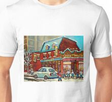 HOCKEY PRACTICE AT THE STEAK HOUSE MOISHE'S RESTAURANT MONTREAL PAITNINGS Unisex T-Shirt
