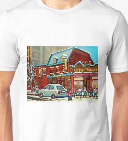 HOCKEY PRACTICE AT THE STEAK HOUSE MOISHE'S RESTAURANT MONTREAL PAITNINGS Unisex T-Shirt