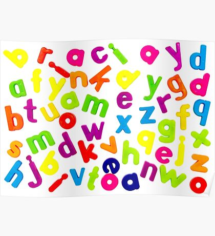 Jumbled up Multi Coloured Letters Poster