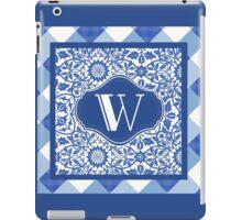 Monogram Initial W in Indigo Patterns iPad Case/Skin