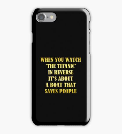 "Gold lettering with the message ""The Titanic As A Rescue Ship"". iPhone Case/Skin"