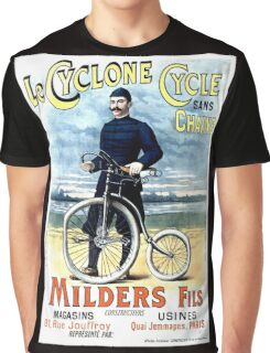 CYCLONE CYCLE; Vintage Bicycle Advertising Print Graphic T-Shirt