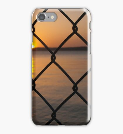 Sunset on the Water Through Chain Link iPhone Case/Skin