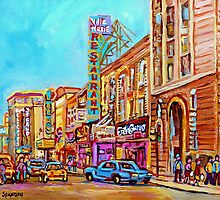 ST.CATHERINE STREET VINTAGE CITY SCENE PAINTINGS by Carole  Spandau