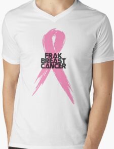 Tell Breast Cancer to Frak Off! Mens V-Neck T-Shirt
