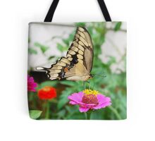 Butterfly Giant Swallowtail and Zinnias Tote Bag