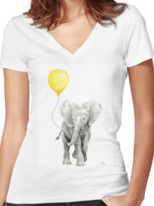 Elephant Baby Watercolor with Yellow Balloon Women's Fitted V-Neck T-Shirt