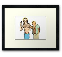 Jesus and Buddha Laughing - Brotherly Love Framed Print
