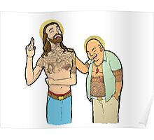 Jesus and Buddha Laughing - Brotherly Love Poster