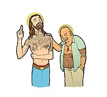 Jesus and Buddha Laughing - Brotherly Love Photographic Print