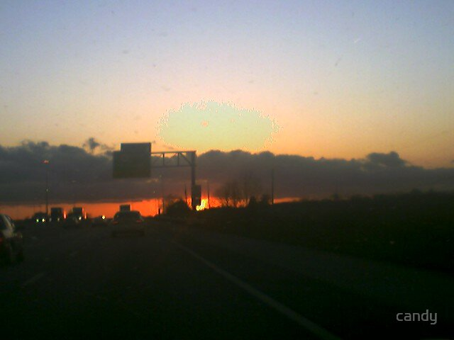 sunset going home by candy