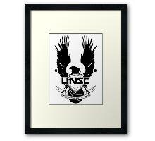 UNSC LOGO HALO 4 - CLEAN LOGO IN BLACK Framed Print