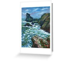 Acrylic painting, View from Rocky Valley, Cornwall art Greeting Card