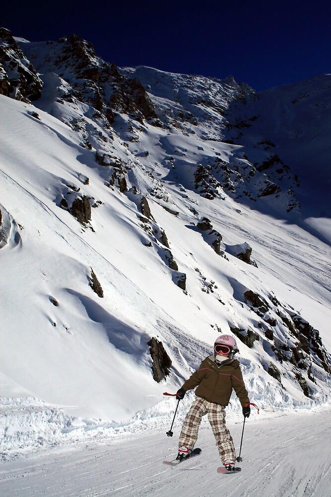 Trendy Little Skier by Adrian Richardson
