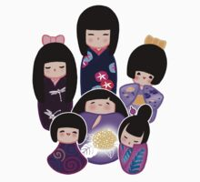 Kokeshi in Purple Kids Clothes