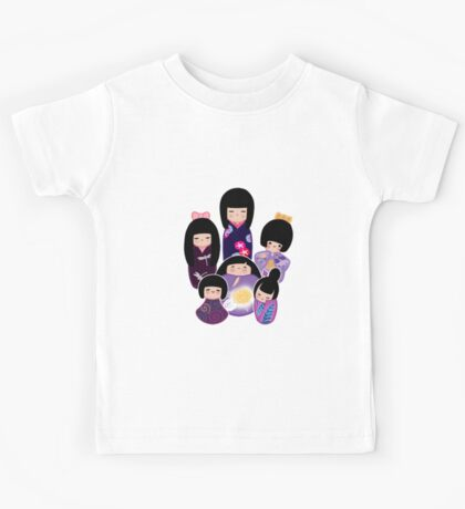 Kokeshi in Purple Kids Tee
