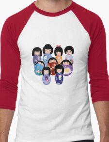 Kokeshi in Bloom Men's Baseball ¾ T-Shirt