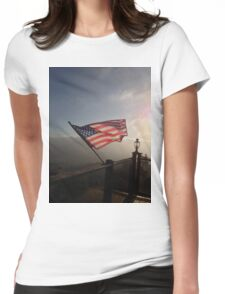 American Flag Flying Over The Sunset Womens Fitted T-Shirt