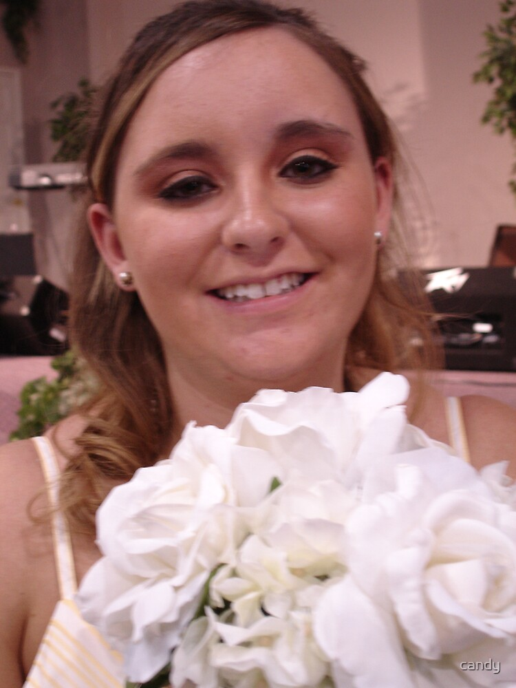 Becky on her wedding day by candy