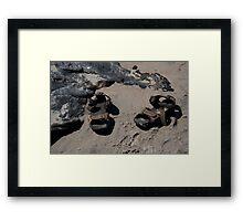 sandals on the beach Framed Print