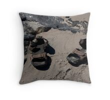 sandals on the beach Throw Pillow