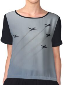 Lucky Five in Formation Aeroplanes Chiffon Top
