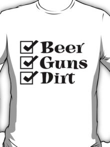 BEER GUNS DIRT Checklist T-Shirt