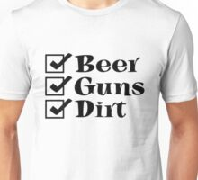 BEER GUNS DIRT Checklist Unisex T-Shirt