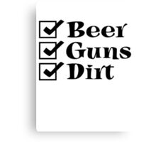 BEER GUNS DIRT Checklist Canvas Print