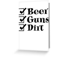 BEER GUNS DIRT Checklist Greeting Card