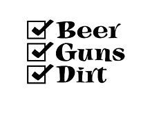 BEER GUNS DIRT Checklist Photographic Print