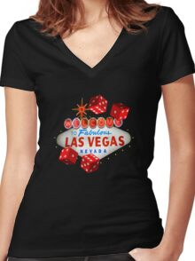 Welcome Dice Women's Fitted V-Neck T-Shirt