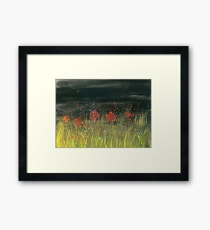 Poppies at night Framed Print