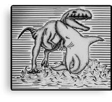 Shark Fighting A Dinosaur Canvas Print