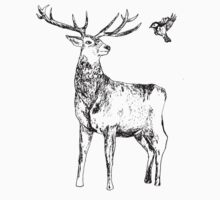 Stag and bird pen drawing One Piece - Long Sleeve