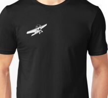 white plane, black t shirt. Unisex T-Shirt