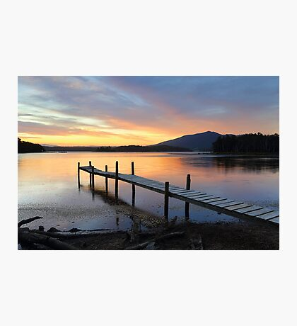 Rustic old timber jetty at sunset Photographic Print