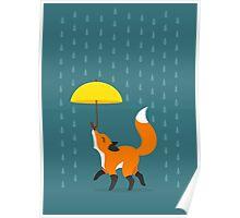 Happy as a Fox balancing an Umbrella in the Rain Poster